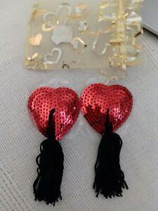 NIPPIES NIPPLE Burlesque cache bijou de seins intime téton rouge Coeur sexy hot