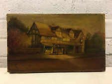 Vintage Antique Painting Signed MW Depicting a Building in a Landscape
