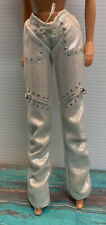 Vintage Barbie Doll Silvery White Pants With Faux Zippers