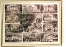 """INTERLAKEN STAHLSTICH 11 ANSICHTEN SCHÖNES """"SOUVENIRBLATT"""" 1870 HOTELS"""