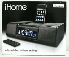 iHome iP9 Black Apple iPhone iPod 30 Pin Speaker Dock Alarm Clock Radio Remote