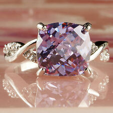 engagement Amethyst Gems Silver Jewelry Fashion Women Ring Size 7
