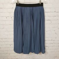 Abercrombie & Fitch Elastic Waist Lined Pleated Skirt Knee Length Blue Size XS