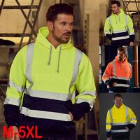 Men's High Visibility Reflective Safety Sweatshirt Tops Work Hooded Jacket Coat