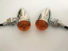 Mini Amber LED 3 Wires Turn Signal Blinker Light Chrome Bullet For Motorcycle