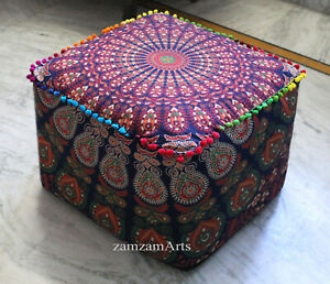 "18"" Square Ottoman Pouf Cover Floor Decorative Footstool Cushion Seat Covers"