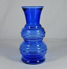 """Vintage Cobalt Blue Glass 8.5"""" Beehive Vase - USA"""