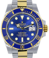 Rolex Submariner Date 18k Yellow Gold/Steel Blue Ceramic Mens Watch 116613