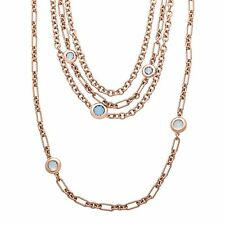 4 3/4 ct Sky & London Blue Topaz Link Necklace in 18K Rose Gold Plate