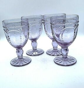 Princess House Marbella Lilac Pedestal Set of 4 Glasses (1731)