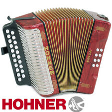 NEW Hohner Diatonic Button Accordion 1600/2 Erica Two-Row AD, Red with Straps