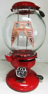 "Columbus Model ""A"" Red Peanut Dispenser Penny Operated Circa 1930's"