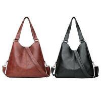 Vintage Women Shoulder Handbag Leather Pure Color Messenger Bag Large Totes #KY