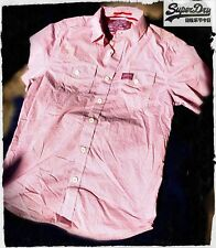 SuperDry Men's Red Gingham Check Poplin Washbasket S/S Shirt MS4EE058F2 Size LRG