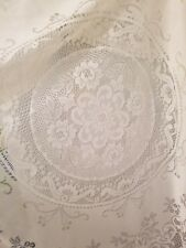 """Ivory Floral Lace Oblong Tablecloth Size 70"""" x 68"""""""