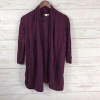 Anthropologie Yellow Bird Open Front 3/4 Sleeve Cardigan Sweater Small Purple