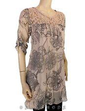 Tunique PIWANA Voile Rose gris Soie T. UNIQUE = 38 40 42 Tunic silk seta NEUF