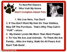 Funny Dog Italian Greyhound House Rules Refrigerator / Magnet Gift Card Insert