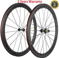 700C Bicycle Wheels Road Bike Carbon Wheelset 50mm Clincher 23mm Width Black Mat