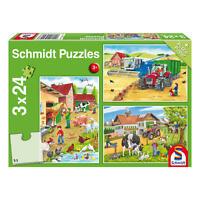 Schmidt Spiele Tiere Auf dem Bauernhof Kinderpuzzle 3x24 T. Puzzle Puzzlespiel
