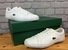 LACOSTE LADIES CHILDRENS UK 4 EU 37 WHITE BLUE LEROND LEATHER TRAINERS      S