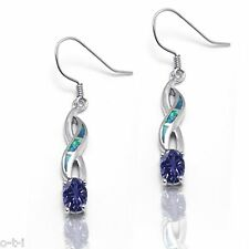 Great Gift Oval Tanzanite Blue Fire Opal Sterling Silver Infinity Earring Pair