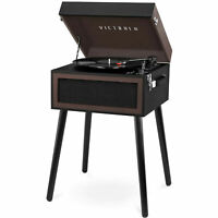 Victrola Bluetooth Record Player Stand with 3-Speed Turntable - Black and Brown