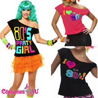 I Love the 80's T-shirt Costume Ladies 1980s 80s Fancy Dress Girls Top TShirt