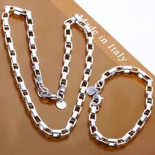 Men's fashion 925 silver filled BOX Necklace Bracelet Jewelry Set Party gift