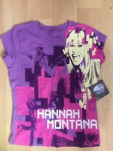NWT Disney Little Girls Purple Hanna Montana Print T-shirt Sz 6 100% Cotton