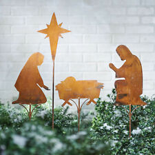 Nativity Scene Garden Stakes - 4 pc Rusted Metal Christmas Lawn Ornament Decor