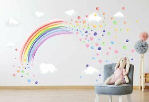PASTEL WATERCOLOUR rainbow & spots wall stickers decal art decor girls bedroom