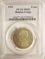 Belgian Congo 1922 Franc (French legend) PCGS MS63