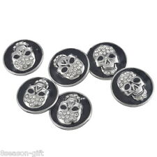 1PC Snap Button White Rhinestone Black Enamel Skull Punk Unisex Fit Bracelet