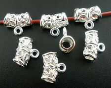 40 Pendant Bails Silver Plated Scroll Pattern Jewellery Findings J03077B