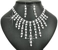 Bridal White Floating Rhinestones Jewellery Set Drop Earrings & Necklace S243