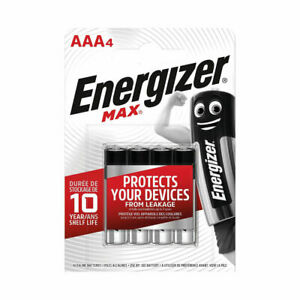 ENERGIZER MAX 4 AAA ALKALINE BATTERIES - PROTECTS YOUR DEVICES - PACK OF 4 -NEW