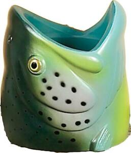 River's Edge Rubber Rainbow Trout Fish Head Can Cooler Beer Pop Koozie NEW