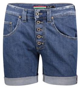 Please Damen Jeans Short P88A Boyfriend - Blau - Mid Blue Denim XXS XS S M L XL