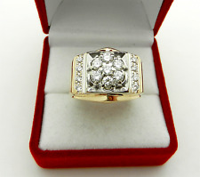 Solid 14k Two Tone Gold Cluster 1.0 tcw Diamonds men's Ring 13.8 grams sze 10.25