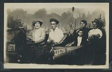 IA Des Moines RPPC 10's CARNIVAL STUDIO PHOTO FAMILY in CAR Pennant Woman Drives
