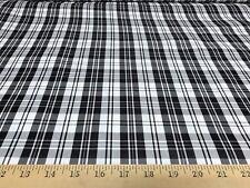 """Black & White Plaid Checks 100% Polyester Taffeta Fabric 58"""" Wide BTY"""