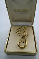 Vintage In-Vestments Jewelry Rope Monogram Gold Tone Rope Large Brooch Letter F