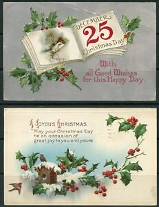 UNITED STATES VINTAGE CHRISTMAS POSTCARDS LOT OF NINE AS SHOWN