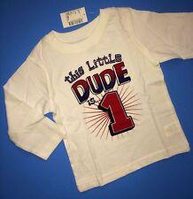 NEW* 1st Birthday 1 Year Baby Boys DUDE Graphic Shirt 12-18 Months Gift White LS