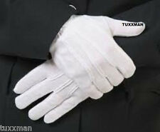 Men's White Tuxedo Gloves 100% Nylon Tuxedo Uniform Police Band Butler FREE SHIP