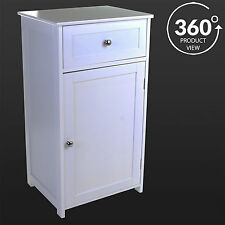 White Wooden Bathroom Cabinet Cupboard Storage Drawer Unit Bedside Table