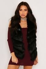 Winter Panel Faux Leather and Fox Fur Gilet Jacket Coat Outwear Vest Warm Top