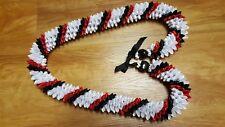 Graduation Wedding Hawaiian Black, White, and Red Swirl Rosebud Ribbon Lei