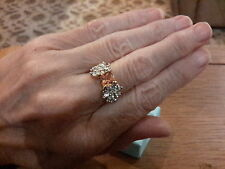 BRAND  NEW 18K GOLD PLATED  RING WITH CITRINE AND DIAMOND LOOK STONES  SIZE M